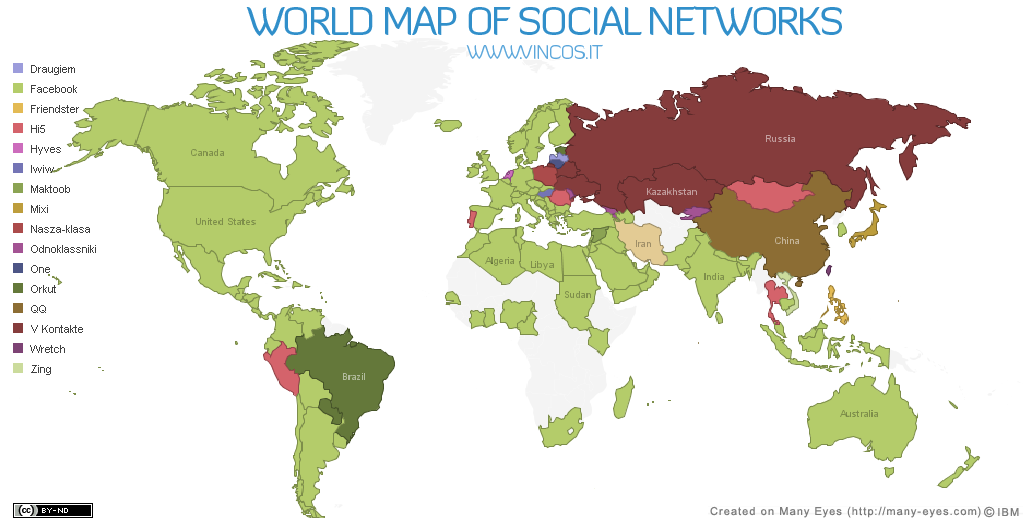 World map of social networks wmsn 12 09 the world map gumiabroncs Image collections
