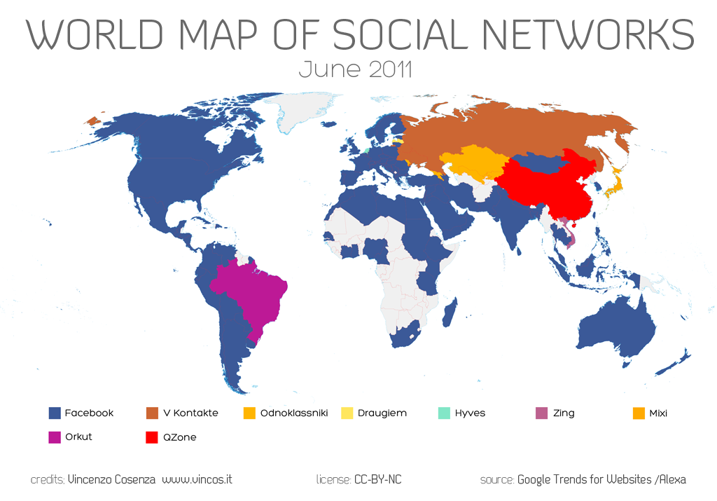 World Map of Social Networks – Show Mexico on World Map