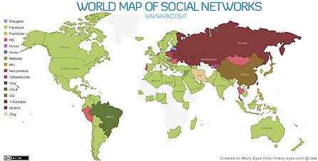 La mappa dei social network nel mondo (dicembre 2009)