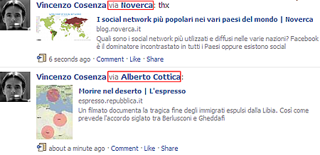 Il retweet secondo Facebook