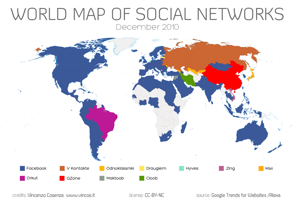 World Map of Social NetworksVincos blog on